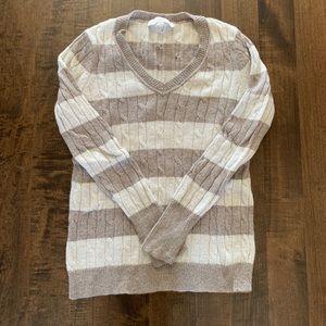 Loft light brown and cream striped sweater